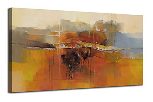 Canvas Wall Art Abstract Rustic Countryside House Along The Road Painting Prints Modern Orange One Panel Large Size Landscape Picture Framed For Living Room Bedroom Home Office Dcor 48x24 0
