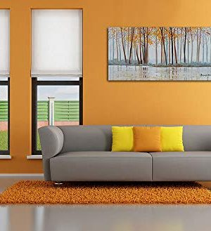 Canvas Wall Art Birch Trees Branches Landscape Yellow Painting Watercolor Picture Poster Prints Modern One Panel 48x24 Framed Large Size For Living Room Bedroom Home Office Dcor 0 0 300x329
