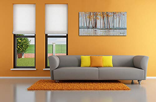 Canvas Wall Art Birch Trees Branches Landscape Yellow Painting Watercolor Picture Poster Prints Modern One Panel 48x24 Framed Large Size For Living Room Bedroom Home Office Dcor 0 0