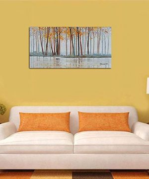 Canvas Wall Art Birch Trees Branches Landscape Yellow Painting Watercolor Picture Poster Prints Modern One Panel 48x24 Framed Large Size For Living Room Bedroom Home Office Dcor 0 2 300x360