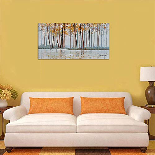 Canvas Wall Art Birch Trees Branches Landscape Yellow Painting Watercolor Picture Poster Prints Modern One Panel 48x24 Framed Large Size For Living Room Bedroom Home Office Dcor 0 2