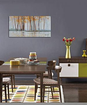 Canvas Wall Art Birch Trees Branches Landscape Yellow Painting Watercolor Picture Poster Prints Modern One Panel 48x24 Framed Large Size For Living Room Bedroom Home Office Dcor 0 3 300x360