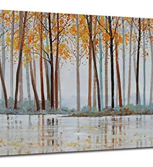 Canvas Wall Art Birch Trees Branches Landscape Yellow Painting Watercolor Picture Poster Prints Modern One Panel 48x24 Framed Large Size For Living Room Bedroom Home Office Dcor 0 300x328