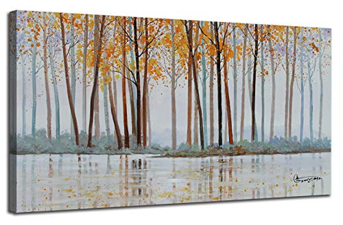 Canvas Wall Art Birch Trees Branches Landscape Yellow Painting Watercolor Picture Poster Prints Modern One Panel 48x24 Framed Large Size For Living Room Bedroom Home Office Dcor 0