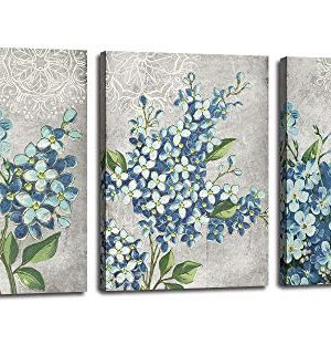 Canvas Wall Art Full Bloosm Flowers Painting Pictures Blue Florals Prints Retro Grey 12x16x3 Panels Botanical Stretched And Framed Ready To Hang For Bedroom Living Room Bathroom Home Office Dcor 0 300x312