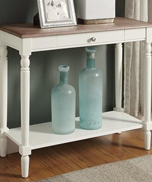 Convenience Concepts French Country Hall Table With Drawer And Shelf Driftwood White 0 300x360