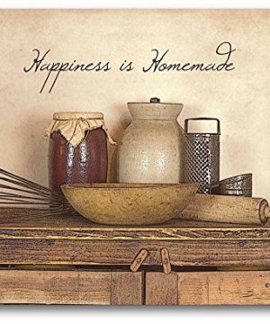 Courtside Market Happiness Is Homemade 20x24 Gallery Wrapped Canvas Wall Art Vintage Farmhouse Barn Trees White Black Brown 0 300x360