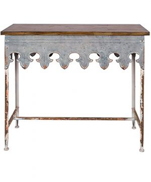 Creative Co Op Metal Scalloped Edge Table With Wood Top Distressed Zinc 0 300x360