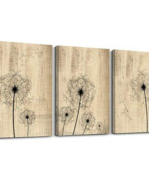 Dandelion Artwork On Vintage Wood Board Background Wall Art For Living Room Canvas Prints Artwork Bathroom Wall Decor Watercolor Painting 3 Pieces Framed Bedroom Wall Decorations Office Home Decor 0 300x360