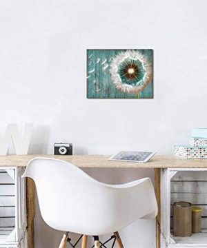 Dandelion Canvas Wall Art For Rustic Home Decor White Dandelion Green Driftwood Theme Country Wall Decor For Bathroom Bedroom Modern Canvas Prints Artwork For Farmhouse Kitchen Wall Decoration 12x16 0 2 300x360