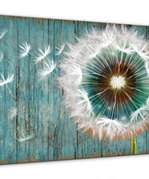 Dandelion Canvas Wall Art For Rustic Home Decor White Dandelion Green Driftwood Theme Country Wall Decor For Bathroom Bedroom Modern Canvas Prints Artwork For Farmhouse Kitchen Wall Decoration 12x16 0 300x360