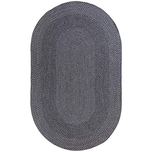 Decomall Azure Braided Oval Indoor Outdoor Area Rugs 4x6 Oval Grey 0 0