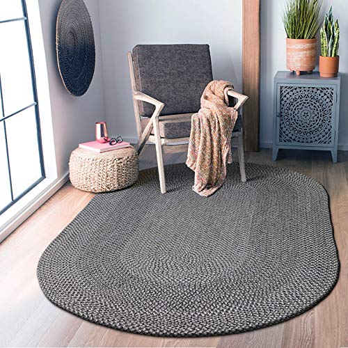 Decomall Azure Braided Oval Indoor Outdoor Area Rugs 4x6 Oval Grey 0 4