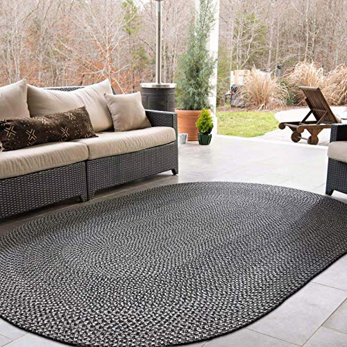 Decomall Azure Braided Oval Indoor Outdoor Area Rugs 4x6 Oval Grey 0 5