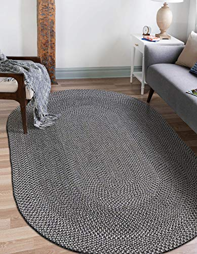 Decomall Azure Braided Oval Indoor Outdoor Area Rugs 4x6 Oval Grey 0