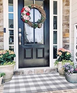 EARTHALL Buffalo Plaid Rug Outdoor 3x 5 Grey Cotton Hand Woven Checkered Door Mat Washable Outdoor Rug FarmhouseKitchenFront PorchLiving RoomLaundry RoomBathroomBedroom 354x59 0 300x360