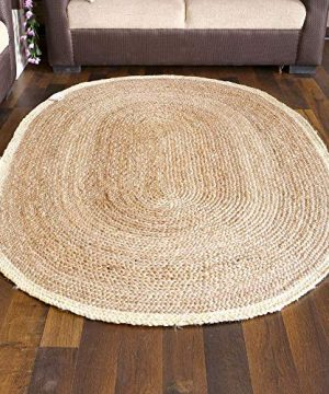 EQUAL Hand Woven Area Rug Oval Shaped Natural Jute Burlap Entryway Rugs Rustic Farmhouse Decor Natural Bleached 5x8 Feet 0 300x360