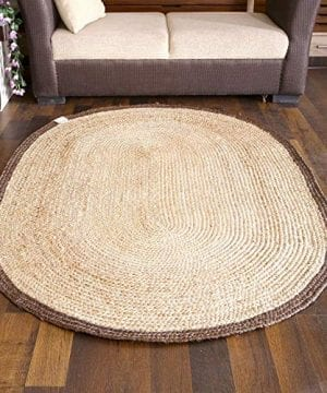 EQUAL Jute Area Rug Indian Handmade Oval Shape Hand Woven Rugs Boho Living Room Decor Natural Brown 3x5 Feet 0 300x360