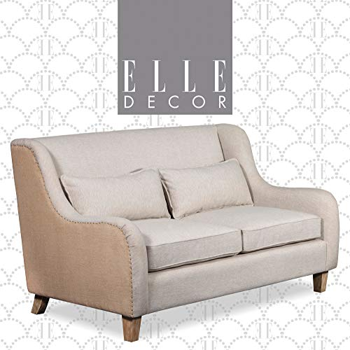 Elle Decor Wingback Two Toned Fabric Sofa Modern Farmhouse Living Room Couch Fabric Accent Loveseat Pillow Backrest Cushions 0