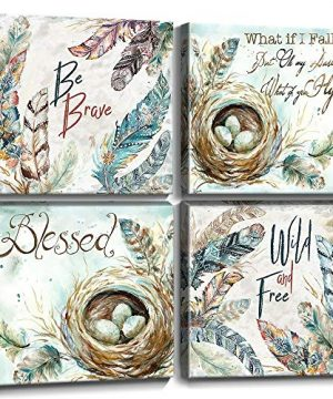 Feathers Wall Decor Inspirational Quote Canvas Prints Wall Art Nordic Style Cyan Fresh Bird Nest Eggs Pictures Framed Artwork Painting Posters Bathroom Modern Home Decoration Set 4 Panels 32x32 Inch 0 300x360
