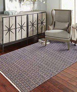 Fernish Dcor 100 Contemporary Cotton Woven Area Rug 4x6 Feet Black Drop 0 300x360