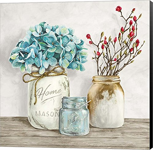 Floral Composition With Mason Jars I By Jenny Thomlinson Canvas Art Wall Picture Museum Wrapped With Black Sides 30 X 30 Inches 0