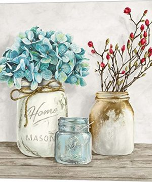 Floral Composition With Mason Jars I By Jenny Thomlinson Canvas Art Wall Picture Museum Wrapped With Nutmeg Sides 12 X 12 Inches 0 300x360