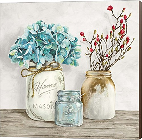 Floral Composition With Mason Jars I By Jenny Thomlinson Canvas Art Wall Picture Museum Wrapped With Nutmeg Sides 12 X 12 Inches 0