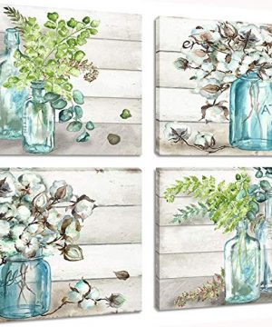 Flower Painting Wall Art Watercolor MasonJar Floral Picture Artwork 4 Panel Modern Oil Painting Print On Canvas For Bedroom Living Ready To Hang 0 300x360