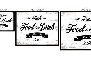 Fresh Food And Drink Free Beer Framed Sign Canvas Print Wall Art Black Real Wood Frame White 27x39 0 0 300x195
