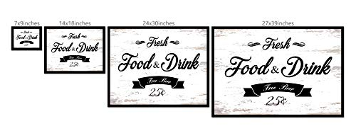 Fresh Food And Drink Free Beer Framed Sign Canvas Print Wall Art Black Real Wood Frame White 27x39 0 0