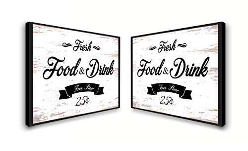 Fresh Food And Drink Free Beer Framed Sign Canvas Print Wall Art Black Real Wood Frame White 27x39 0 1