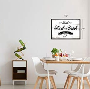 Fresh Food And Drink Free Beer Framed Sign Canvas Print Wall Art Black Real Wood Frame White 27x39 0 3 300x297