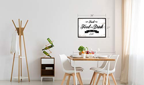 Fresh Food And Drink Free Beer Framed Sign Canvas Print Wall Art Black Real Wood Frame White 27x39 0 3