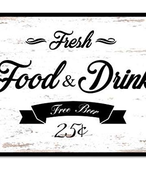 Fresh Food Drink Free Beer 25 Bathroom Sign Framed Canvas Print Home Decor Wall Art Black Real Wood Frame White Farmhouse Goals
