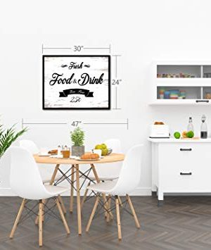 Fresh Food And Drink Free Beer Framed Sign Canvas Print Wall Art Black Real Wood Frame White 27x39 0 4 300x355