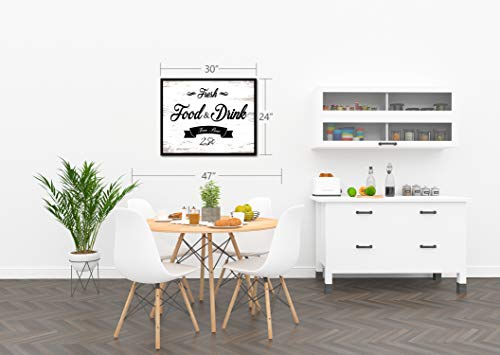 Fresh Food And Drink Free Beer Framed Sign Canvas Print Wall Art Black Real Wood Frame White 27x39 0 4