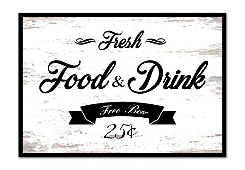 Fresh Food And Drink Free Beer Framed Sign Canvas Print Wall Art Black Real Wood Frame White 27x39 0