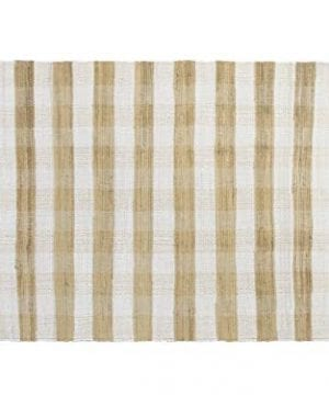 GLAMBURG Cotton Reversible Area Rug 3 X 5 Farmhouse Floor Mat Washable Carpet Checkered Plaid Rug For Front Porch Living Room Kitchen Bedroom Beige Natural 0 300x360