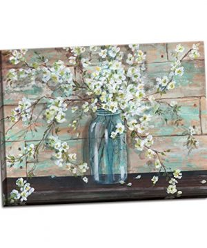 Gango Home Decor Beautiful Watercolor Style Blossoms In A Mason Jar Floral Print By TRE Sorelle Studios One 20x16in Stretched Canvas 0 300x360