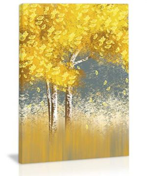 Golden Autumn Tree Leaves Wall Art Decor Modern Abstract Canvas Painting Kitchen Prints Pictures For Home Living Dining Room 0 300x360