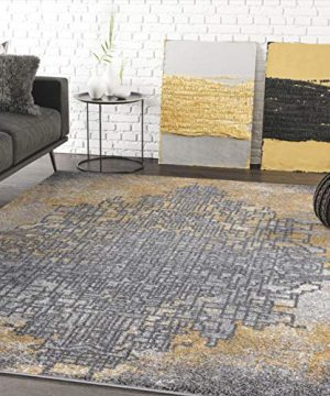 Grey Yellow Abstract Art Area Rug Contemporary Style Abani Rugs Laguna Collection Modern 6 X 9 Rectangle Accent Rug 0 300x360