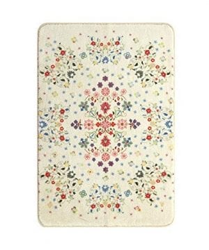 HAOCOO Rustic Floral Area Rugs 3x5 Large Non Slip Country Style Contemporary Throw Rugs Beige Super Soft Velvet Romantic Fresh Floor Carpet For Bedroom Bedside Living Room Nursery Decor 0 0 300x360