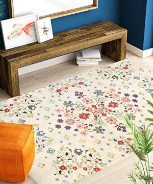 HAOCOO Rustic Floral Area Rugs 3x5 Large Non Slip Country Style Contemporary Throw Rugs Beige Super Soft Velvet Romantic Fresh Floor Carpet For Bedroom Bedside Living Room Nursery Decor 0 1 300x360