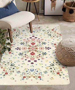 HAOCOO Rustic Floral Area Rugs 3x5 Large Non Slip Country Style Contemporary Throw Rugs Beige Super Soft Velvet Romantic Fresh Floor Carpet For Bedroom Bedside Living Room Nursery Decor 0 300x360