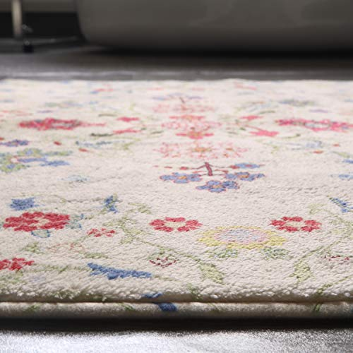 HAOCOO Rustic Floral Area Rugs 3x5 Large Non Slip Country Style Contemporary Throw Rugs Beige Super Soft Velvet Romantic Fresh Floor Carpet For Bedroom Bedside Living Room Nursery Decor 0 5