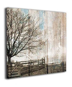 HIBIPPO Country Farmhouse Brown Blue Canvas Wall Art Contemporary Artwork Wall Decorations For Bedroom Kitchen 16x16 Stretched And Framed 0 300x360