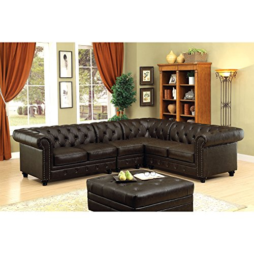 HOMES Inside Out Jaden Traditional Sectional Sofa Brown 0 0