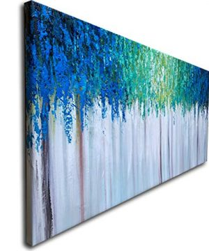 Hand Painted Blue And Green Textured Tree Artwork Abstract Wall Art Modern Landscape Oil Painting On Canvas 0 0 300x360