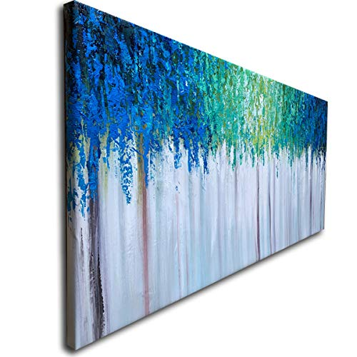 Hand Painted Blue And Green Textured Tree Artwork Abstract Wall Art Modern Landscape Oil Painting On Canvas 0 0